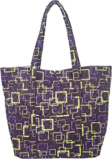American Made, Quilted Fabric, Large Square Bottom Tote by Stephanie Dawn