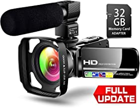【Full Upgrade】 Ultra HD Video Camera Camcorder with Powerful Microphone 1080P Vlogging Camera YouTube Digital Recorder Camera Remote Control IR Night Vision,Lens Hood, Battery Charger