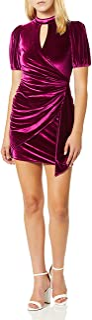 Parker womens Artie Short Sleeve High Neck Velvet Mini Dress Dress