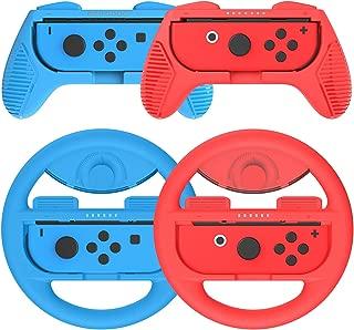 マリオカート8 デラックス Joy-Conハンドル for Nintendo Switch マリオ Y047(赤+青/4点セット)Momen®