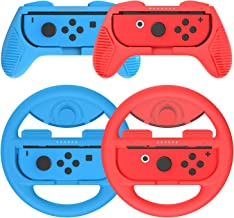 Joy-Con Grip (2 Pack) Joy-Con Steering Wheel (2 Pack) for Switch Joycon, Momen Game Hand Grip Accessory Kit Cover Case for N-Switch Joy-Con Controller (Blue, Red)