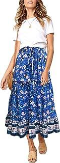 ZESICA Women's Bohemian Floral Printed Elastic Waist A Line Long Maxi Skirt with Pockets