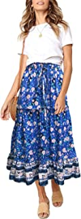 blue floral print skirt
