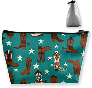 YOUNGSSDD Makeup Bag - Beautiful Colourful Teal Cowboy Boots Cosmetic Bag with Zipper - Toiletry/Travel Bag for Brushes Jewelry Accessories Collection - Single Layer Storage Bag for Women