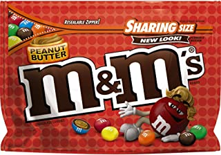 M&M'S Peanut Butter Chocolate Candy Sharing Size 9.6-Ounce Bag (Pack of 8)
