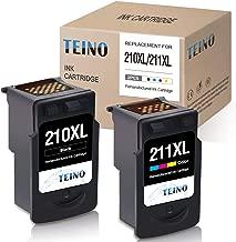 TEINO Remanufactured Ink Cartridges Replacement for Canon 210XL PG-210XL 211XL CL-211XL for PIXMA MX410 MP495 MP250 MP280 MP260 MX340 MX330 MX420 MP480 MP240 IP2702 (Black, Tri-Color, 2 Pack)