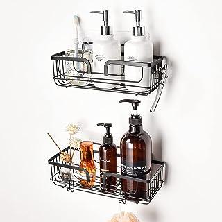 YOHOM Shower Caddy Bathroom Shelves Rack Shower Basket Shower Organiser Storage Adhesive Wall Shampoo Shower Gel Holder wi...