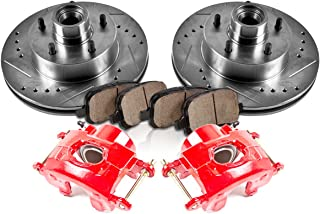 CCK12171 FRONT Powder Coated Red [2] Calipers + [2] Rotors + Quiet Low Dust [4] Ceramic Pads Performance Kit
