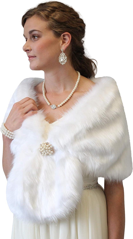 Tion Design Bridal Faux Fox Fur Stole, White Fox Faux Fur Wedding Stole