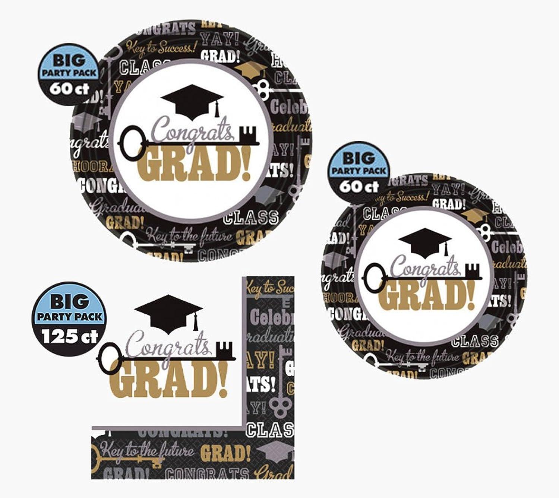 245 Piece Graduation Party Supplies Bundle  60 Lunch Plates, 60 Dessert Plates, and 125 Napkins (Serves 60 Guests) Multi