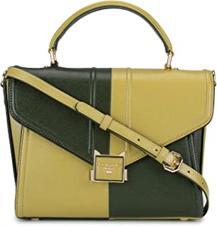 Women's Green Dual-tone Leather Satchel