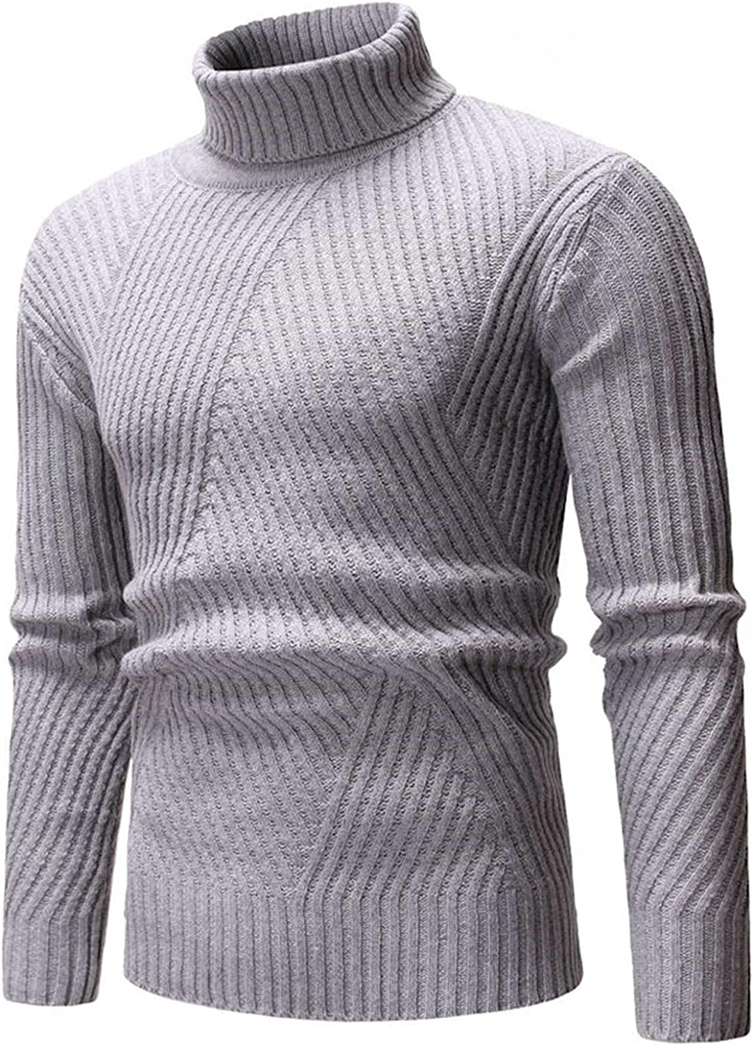 WUAI-Men Slim Fit Turtleneck Sweater Casual Twisted Knitted Thermal Pullover Jumper Tops Big and Tall