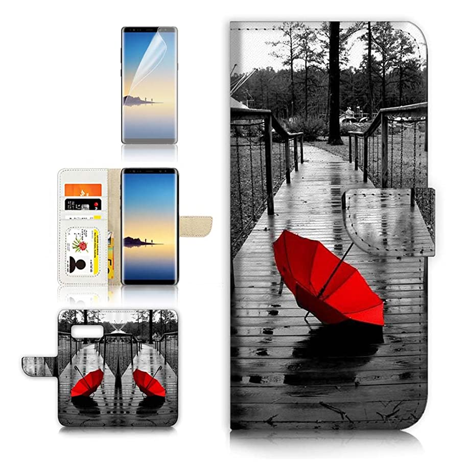 ( For Samsung Note 8 , Galaxy Note 8 ) Flip Wallet Case Cover & Screen Protector Bundle - A40112 Red Umbrella