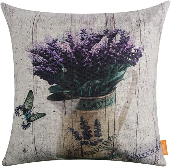 LINKWELL 18 X18 Vintage Wood Look Purple Lavender Flower Home Burlap Throw Pillow Case Cushion Cover CC1143