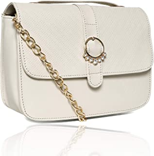 Nevis Women Synthetic Casual Crossbody/Tote Sling Bag For Girl |Button Closure With Gold Chain Strap