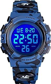 Kids Digital Sport Watch Camouflage Waterproof Electronic Boys Watches Ages 11-15 Alarm Luminous Stopwatch Multifunction W...