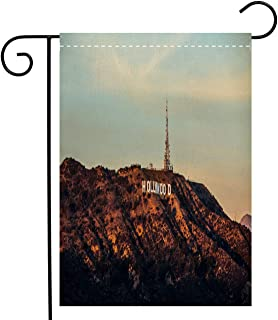BEIVIVI Creative Home Garden Flag Hollywood Sign in Los Angeles Welcome House Flag for Patio Lawn Outdoor Home Decor, Polyester 12 x 18 inch
