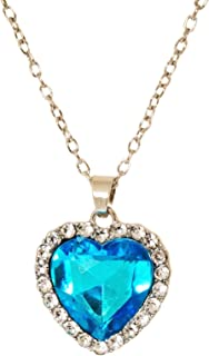 Necklace - Silvertone with Ocean Blue Crystal Heart Pendant - Ricki's Titanic Heart
