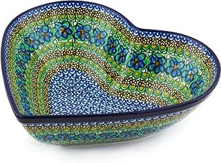 Polish Pottery 10¾-inch Heart Shaped Bowl made by Ceramika Artystyczna (Mardi Gra Theme) Signature UNIKAT + Certificate of Authenticity
