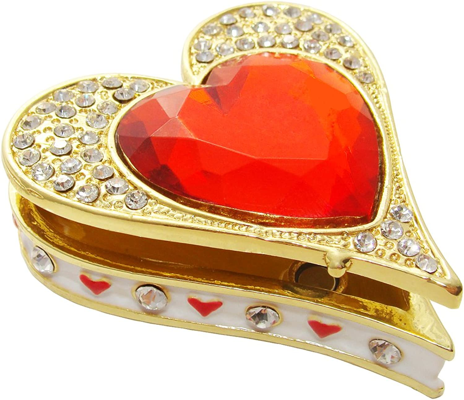 Objet D'Art Release  140 Queen of Hearts Casino Playing Card Suit Handmade Jeweled Enameled Metal Trinket Box