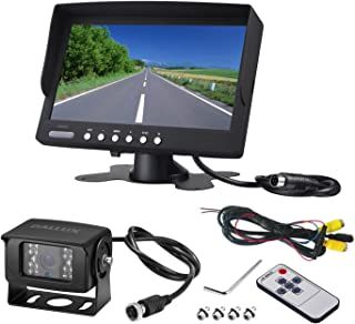 Heavy Duty Vehicle Backup Camera System for Bus,Truck,Van,Travel Camping Trailer, RV, Pickup and Motor Home, Waterproof Night Vision HD Wide Angle Rear View Camera with 7 inch Monitor kit(12V 24V),