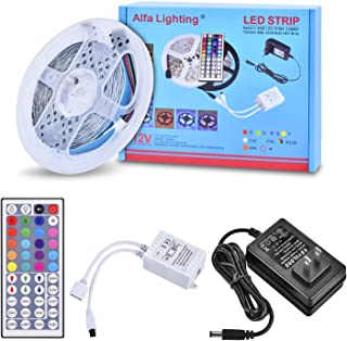 Alfa Lighting 16.4 Ft/5m 150 LEDs Flexible LED Strip Lights 5050 SMD RGB 12V 2A + 44 Keys Remote Control [Energy Class A]