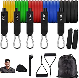Exercise Fitness Resistance Bands Set for Home Workout Fitness Fitness Set Bodybuilding Elastic, Ankle Straps and Carry Ba...