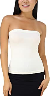 ToBeInStyle Women's Seamless Bandeau Tube Top Ribbed Without Pad