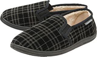 Dunlop Mens Slippers Slip On Twin Gusset Faux Fur Lined Memory Foam Sizes 7-12