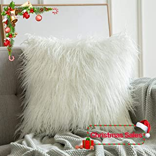 MIULEE Decorative New Luxury Series Style Christmas White Faux Fur Throw Pillow Case Cushion Cover for Sofa Bedroom Car 24 x 24 Inch 60 x 60 cm