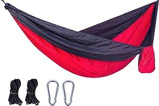 Hamac Extérieur Camping Récréatif Voyage Anti - Renversement 260*140 Noir + Rouge
