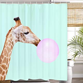 GoEoo Giraffe Blowing Bubble Gum 3D Fantasy Print with 12 Hooks Giraffe Bathroom Curtain Waterproof Shower Curtain Room Home Easy to Clean Shower Curtain