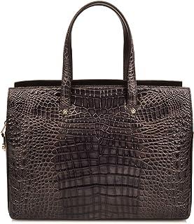 Ainifeel Men's Crocodile Embossed Genuine Leather 15.5'' Laptop Bags Briefcase Handbags for Business (Grey)