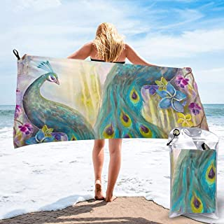 """Sand Resistant Beach Towel Jeweled Peacock Green Feathers Wild Bird Animals Watercolor Bath Towel With Bag, Microfiber Throw Towel Quick Dry Eco-Friendly Shower Towel For Sports 31.5""""X63"""""""