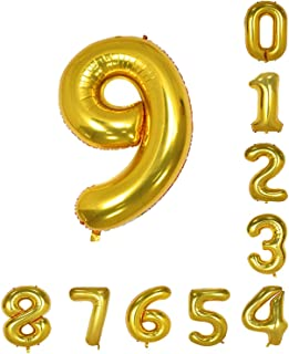 House of Quirk 16 Inch 9 Number Balloon Gold Foil Large Number Giant Helium Balloon Birthday Party Decoration(Pack of 1) - Gold