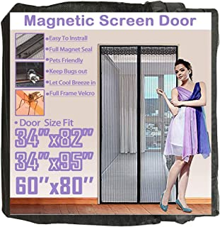 TheFitLife 62''x81'' Magnetic Screen Door Fits Doors up to 60''x80'' Max Full Frame Hook and Loop Heavy Duty Mesh