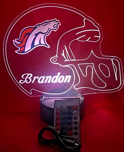 Denver Broncos NFL Light Up Lamp LED Personalized Free Football Light Up Light Lamp LED Table Lamp Our Newest Feature It S Wow With Remote 16 Color Options Dimmer Free Engraved Great Gift