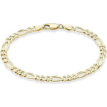 "MiaBella Solid 18K Gold Over Sterling Silver Italian 5mm Diamond-Cut Figaro Chain Bracelet for Women Men, 6.5"", 7"", 7.5"", 8"", 9"" 925 Italy"