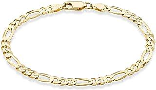 """دستبند زنجیره ای فیگارو برش برنز الماس ایتالیایی 5 میلی متر طلای 18K طلای MiaBella ، 6.5 """"، 7"""" ، 7.5 """"، 8"""" ، 9 """"925 ایتالیا"""