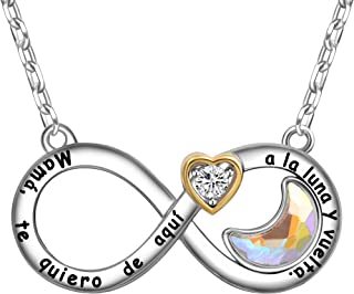 ENGSWA Collar Mujer Grabado Colgante Infinito Corazón con Cristal Luna Regalo Madre Mamá