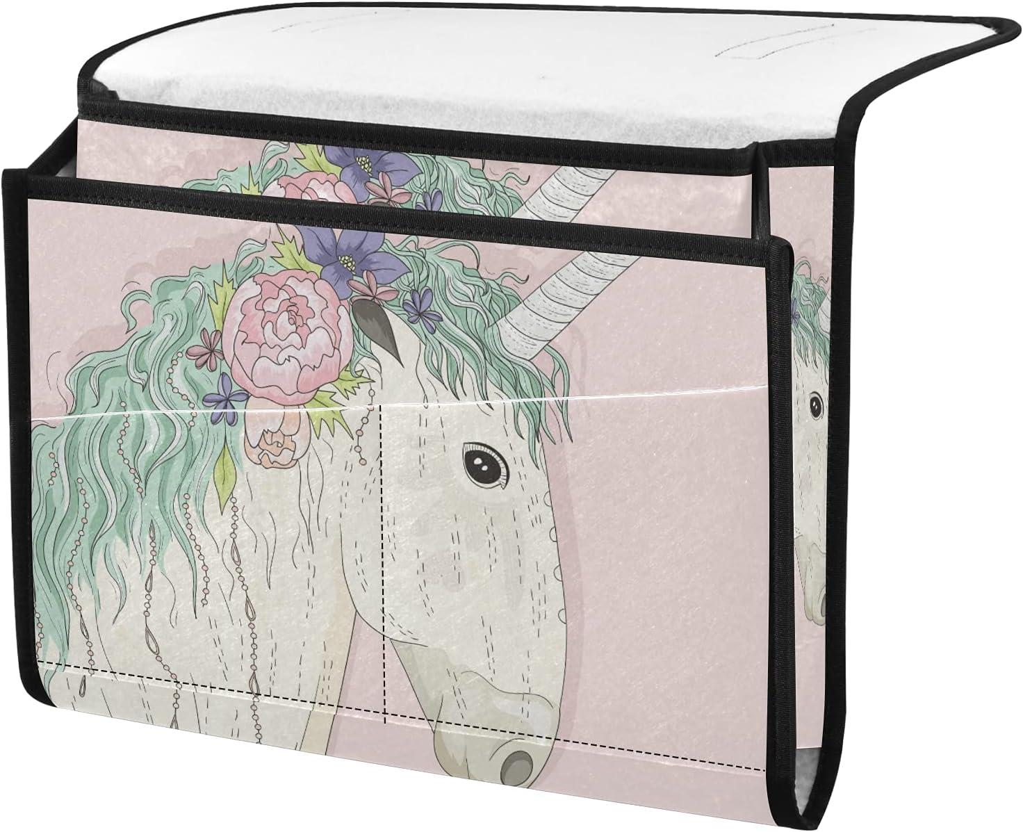 senya Cute Unicorn with In a popularity Flowers Bedside Organizer Bedsid Storage Kansas City Mall