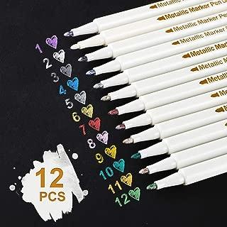 Rotuladores metálicos, 12 colores Rotuladores metálicos para hacer tarjetas Álbum de fotos de bricolaje Papel de boda Cerámica de vidrio, Resalte Rotuladores metálicos - Afilado (1 mm)
