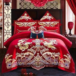 Broderie de Mariage de Style Rouge Couverture de Couette Ensemble de draps en Coton Solide Princess Literie Ensemble de Li...