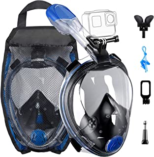 OMORC Diving Mask, 180°Panoramic View Foldable Snorkel Mask, Full Face Snorkel Mask with Breathing System and Detachable Camera Mount, Anti-Fog&Anti-Leak, Snorkel Set for Adults &Youth
