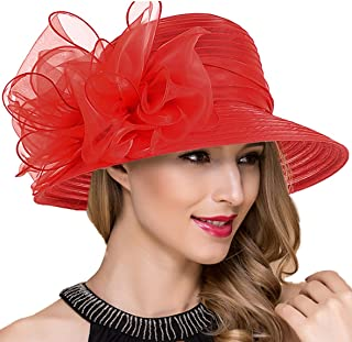 d6cdd6ee45a FREE Shipping on eligible orders. Lady Church Derby Dress Cloche Hat  Fascinator Floral Tea Party Wedding Bucket Hat S051