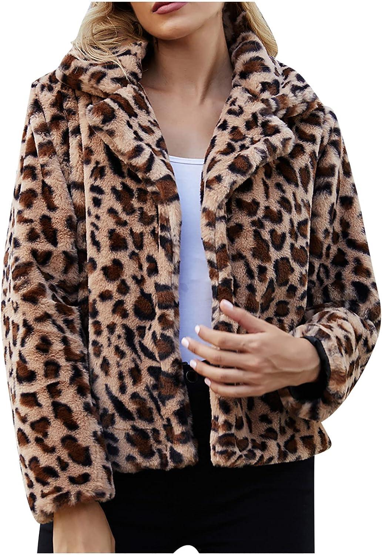 Women's Leopard Hooded Tops Long Sleeve Shirt Blouses Plush Winter Warm Coat Teen Casual Work Jacket Button up Outwear