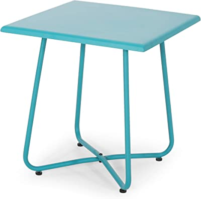 """Christopher Knight Home Doris Outdoor Modern 18"""" Side Table with Steel Legs-Teal"""