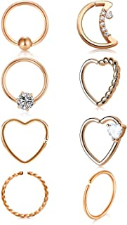 16g 20g Daith Earrings Surgical Steel Tragus Helix Cartilage Piercing Jewelry Heart CZ Small Hoop Earring Fake Nose Rings Hoop Septum Jewelry Silver Rose Gold