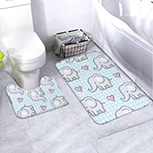 Bath Rug Set 2 Piece BathroomBaby Elephant Mat Sets Non Slip Microfiber Bath Shower Mat U-Shaped Toilet Rug Combo Set (35....