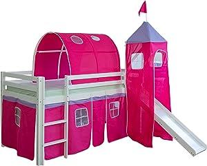 Homestyle4u 1442, Kinder Tunnel Für Hochbett, Baumwolle, 90 cm Breit, Pink